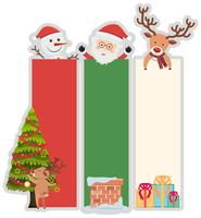 Plantilla de banner de Navidad con árbol y santa