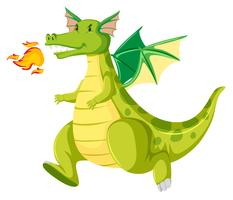 Fire breathing green dragon vector