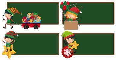 Vier Brettschablone mit Weihnachtsaufzügen