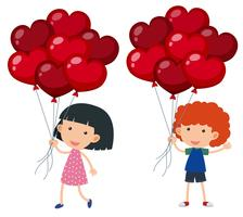 Boy and girl with balloons shape of hearts vector