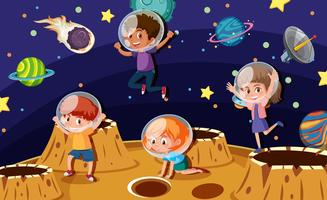 Children astronauts on a planet