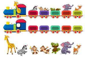 Animals and train element vector