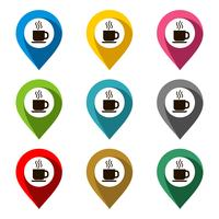 Insieme di vettore del punto di posizione - progettazione dell'illustrazione del caffè. Vettore ENV 10.