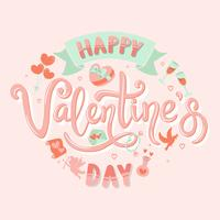Happy Valentines Day handwritten Calligraphy / Typography with Icon Set Collection- Vector Illustration