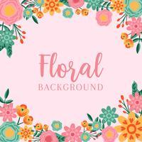 Hand gezeichneter Blumen-Einladungs-Grenzhintergrund - Vector Illustration