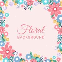 Hand drawn Flower Invitation Border Background - Vector Illustration