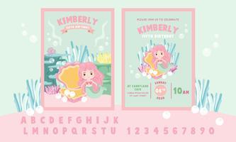 Linda pequeña sirena rosada tema fiesta de cumpleaños invitación tarjeta plantilla - ilustración vectorial