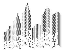 Horizonte de la ciudad moderna. silueta de la ciudad. ilustración vectorial en plano vector