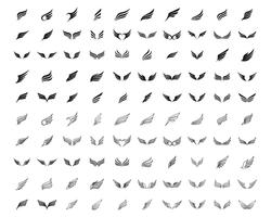 Wing logo and symbol business template set line 100 vectors