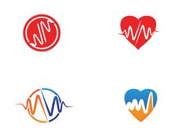 Heart beat hospital line logo vectors