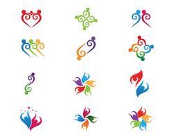 Vetores de logotipo de adoção de grupo comunitário