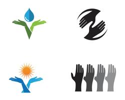 Vettore di logo di cura della mano