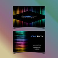 Business card with a spectrum coloured design