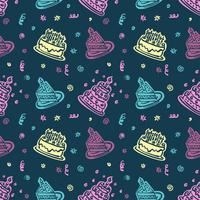 Happy birthday hand drawn pattern Background with pastel color