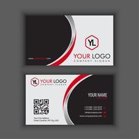 Moderna plantilla de tarjeta de visita creativa y limpia con color cromo rojo