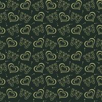 Butterfly love hand drawn Pattern green background