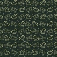 Fondo disegnato a mano di verde del modello di amore di farfalla