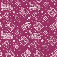 Joyeux anniversaire motif dessiné à la main fond de couleur pourpre