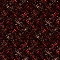 Dragonfly patroon achtergrond met bruine kleur