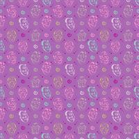 emozione faccia disegnata a mano modello sfondo con colore viola