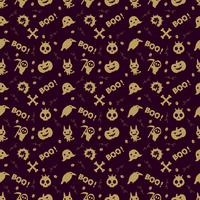 cute halloween pattern background with gold color vector