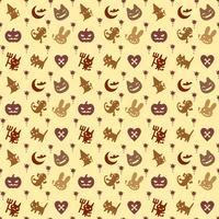 söt hallowen mönster bakgrund med brun färg
