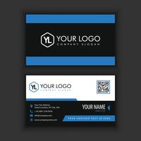 Modern Creative and Clean Business Card Template with blue black