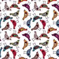 colorful bird hand drawn pattern background vector