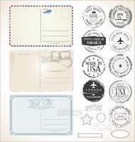 Reeks postzegels op witte achtergrondpostpostkantoorluchtpost