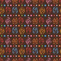 Fondo de patrón de cara emoción dibujado a mano con color marrón