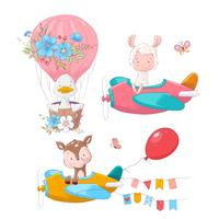 Cute cartoon illustration set air transport airplane helicopter and balloon hand drawing style.