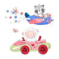 Cute cartoon illustration set transport airplane and car convertible style hand drawing.