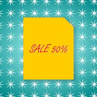Sale banner 50% template design on yellow paper and green background for poster vector illustration.