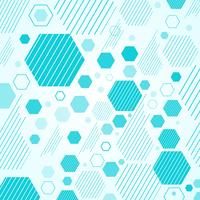 Abstract mechanical scheme blue geometric hexagons and lines pattern. vector