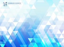 A tecnologia futurista abstrata da seta e os triângulos modelam elementos no fundo azul.
