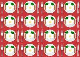 Set of seamless pattern fried egg on a plate with fork and knife on top view. vector picnic illustration.