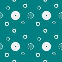 Seamless pattern background cogs gears cogwheels. White gears on dark green background. Design concept vector illustration.