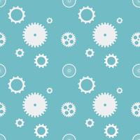 Seamless pattern background cogs gears cogwheels. White gears on blue background. Design concept vector illustration.