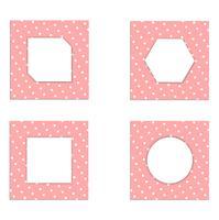 Conjunto de papel de cartão vintage modelo branco sobre fundo rosa. design para vetor e ilustração.
