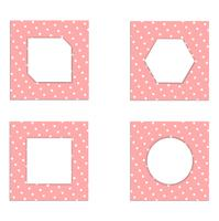 Reeks van wit papier van de malplaatje het uitstekende kaart op roze achtergrond. ontwerp voor vector en illustratie.