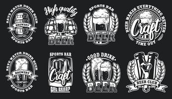 Set of illustrations of beer logos