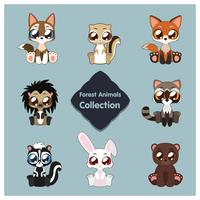 Collection of cute woodland animals