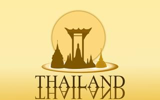 Thailand Amazing Tourism wat arun temple gold color design for banner vector. Thai art graphic sign illustration.