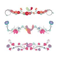 Floral divider set with birds