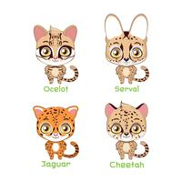 Set of spotted feline species illustrations