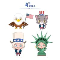 4th of July characters set vector