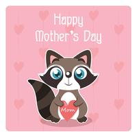 Mother's Day illustration with cute raccoon holding a heart