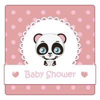 Baby shower card with cute little panda