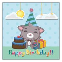 Carte d'anniversaire avec un mignon petit chat gris joyeux
