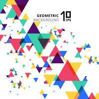 Triángulos traslapados geométricos modernos coloridos y creativos abstractos en el fondo blanco.